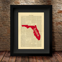 Florida, Florida State, Florida State Map, Art Print, Dictionary Print, Book Print Page Art Vintage Book Art, Dictionary State Print -27F