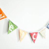 Welcome Flag Sign Banner Bunting, made to order, using a combination of modern scraps and eco chic fabrics ooak