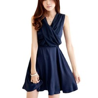 Lady Cross V Neck Sleeveless Smocked Back Mini Dress