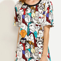 People Printed T Shirt Dress  12261