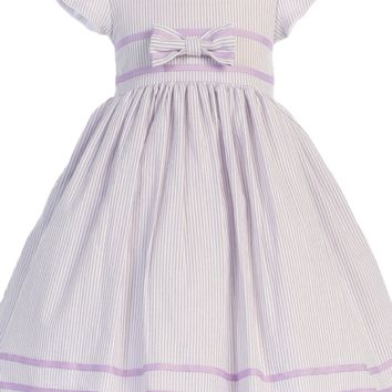 Lilac Cotton Seersucker Spring Easter Dress w Ribbon Trim (Baby 3 Months - Girls Size 7)