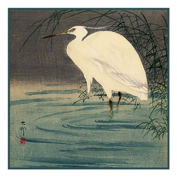 Japanese Artist Ohara (Koson) Shoson's Egret on a Pond Counted Cross Stitch or Counted Needlepoint Pattern