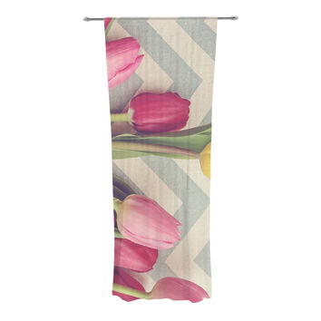 "Catherine McDonald ""Tulips and Chevrons"" Decorative Sheer Curtain"