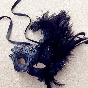 Black Masquerade Mask Sexy Lace Feather Encrusted Venetian Style Mask