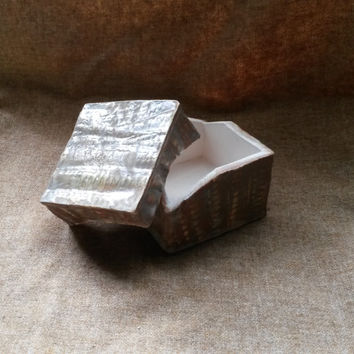OOAK Armadillo Skin Lidded Ceramic Square Box
