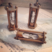 1 - Vintage Style Sand Timer Hour Glass hourglass Pendant Charm Necklace REALLY WORKS Nautical Antique BRONZE Sandtimer