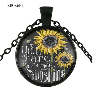 2018 Stylish vintage sunflower necklace for women You are my sunshine glass bronze chain pendant necklace