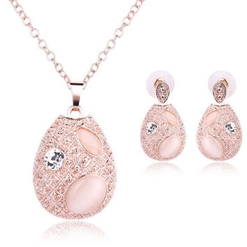 Exquisite Faux Opal Rhinestone Water Drop Pendant Necklace and Earrings