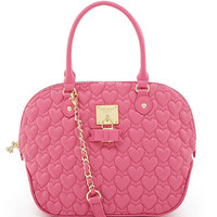 Betsey Johnson Always Be Mine Dome Satchel Pink