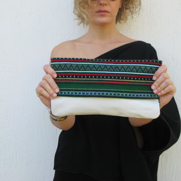 Ethnic leather clutch handcrafted from white leather and green woven fabric. Boho purse Crete-Clutch 03W Available in other colors too.  NEW