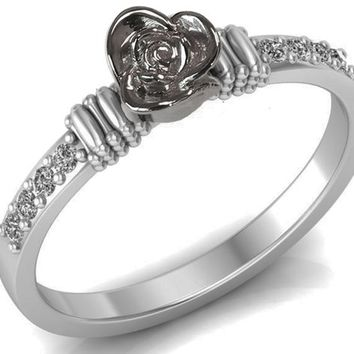 Birthday Gift Celtic Flower Engagement Ring White Gold Floral Ring For You Love Gift Promise Ring Unique Engagement Ring with Side Diamonds