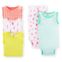 Carter's Girls Printed 5 Pack Sleeveless Bodysuits in Assorted Colors