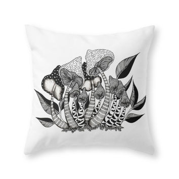 Society6 Mushroom Friends Throw Pillow