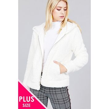Ladies plus size hoodie side pocket faux fur zip-up jacket (a)