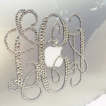Monogram Macbook Laptop Case Personalized with Crystals/Rhinestones/Swarovski