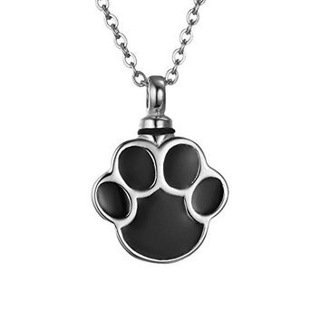 Cremation Jewelry Dog Cat Paw Pet Memorial Urn Necklace Stainless Steel Ash Keepsake Pendant,Silver