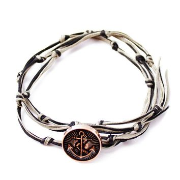 KNOTTY-Polished Anchor Bracelet Men or Women or Kids Gift