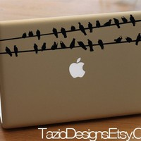 Birds On Wire - Set of Two - Apple Macbook iPad Decal, Vinyl Car Window Sticker, Wall Art