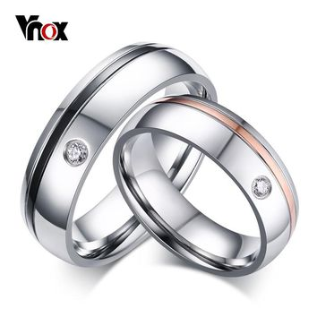 Vnox Classic Simple Line Wedding Rings for Women Men AAA CZ Stone Couple Promise Band Alliance Anniversary Bijoux