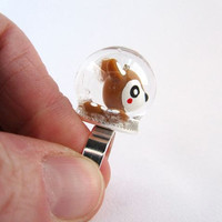 Tiny Deer Snowglobe Ring by ManyMinis on Etsy