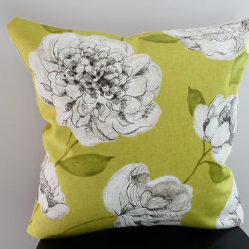 Yellow-Green Floral Pillow Cover / Natural Cotton & Linen Pillow / Large Flowers