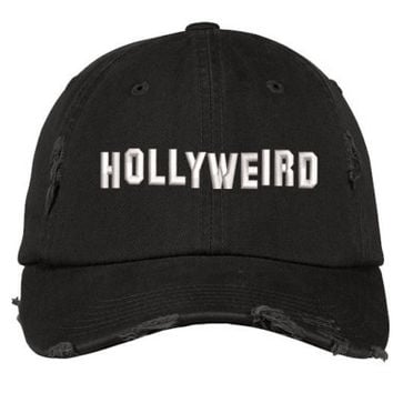 HOLLYWEIRD Distressed Dad Hat, Hollywood Baseball Cap, Los Angeles, Actor, Actress, Hollywood Stars, Black