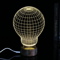 3D stereo creative Acrylic environmental LED Bulb lamps holiday gift Home Decoration Nightlight