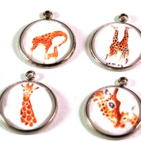 Giraffe 20mm Stainless Steel Glass Dome Charms