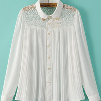 White Long Sleeve Lace Pleated Pointed Flat Collar Blouse