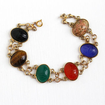 Vintage Scarab Bracelet - 14k Rosy Yellow Gold Filled Large Genuine Gems - Retro Huge Egyptian Revival Colorful Beetle Gem Statement Jewelry