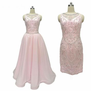 Light Pink Beads Cocktail Dress With Detachable Skirt Crystals Pearls Short Dress