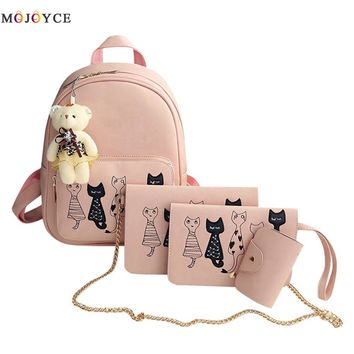 4Pcs/Set Small Women Backpacks female 2017 School Bags For Teenage Girls Black PU Leather Women Backpack Shoulder Bag Purse