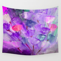 Emerging Flowers Purple Wall Tapestry by Jenartanddesign