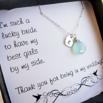 Set of 5: five personalized Bridesmaid gifts, bridesmaid necklaces with thank you cards, sterling silver bridal jewelry