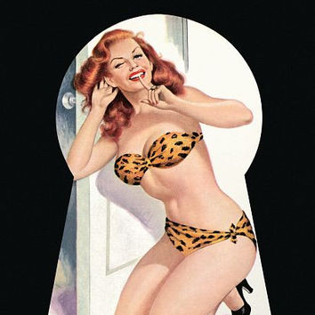 Pin Up Poster Redhead Caught In The Keyhole