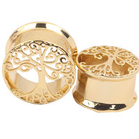 1 Pair Tree of Life Piercing Body Jewelry Brass Flesh Tunnel Ear Plug 6-16mm Copper Ear Expander Gauge Ear Expander