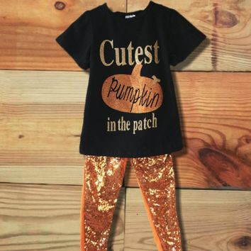 Cutest Pumpkin In The Patch Sequin Outfit