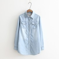 Spring and Autumn New Plus Size Women Clothes, Long Sleeves Blouse Vintage Denim Shirt, Casual Blue Jeans Shirt Camisa Femininas