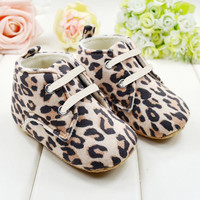 Leopard Baby Infant Kids Girl Soft Sole Shoe Crib Toddler Newborn Baby Shoes First Walkers 0-18 months