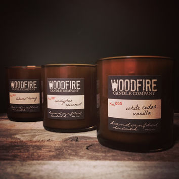 Pick 3 Whiskey Glass Soy Wood Wick Candle, rustic packaging, gift ready, man candle