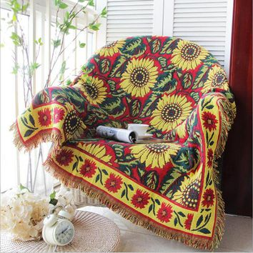 Knitted Sofa Blanket Home Decor Chair Cover Cobertor Living Room Carpet Bohemian Bedspread Tablecloth Travel Plaids