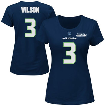 Russell Wilson Seattle Seahawks Majestic Women's Fair Catch V Name & Number T-Shirt – College Navy