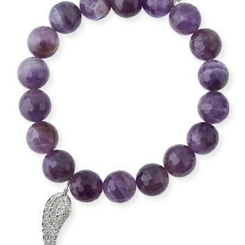 Sydney Evan 10mm Amethyst Beaded Bracelet with Diamond Wing Charm