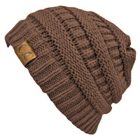 Taupe Thick Slouchy Knit Oversized Beanie Cap Hat