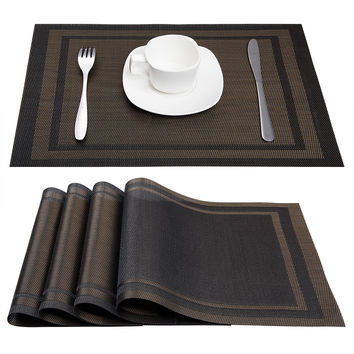 Placemats ARTAND Heat-resistant Placemats Stain Resistant Anti-skid Washable PVC Table Mats Woven Vinyl Placemats Set of 4 (Black+Gold)