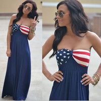 New American National Flag Maxi Dress Fourth of July the 4th