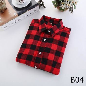 For Her: Black Red Medium - 5XL Plaid Flannel Long Sleeve Shirt