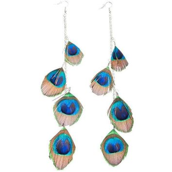 PEAPGQ9 Ruffle Your Feathers Peacock Feather Earrings