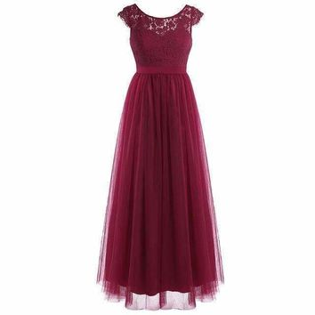 Formal Cap Sleeve Lace Tulle Maxi Dress