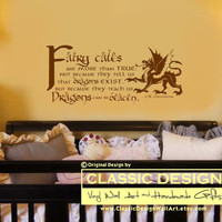 Vinyl Wall Decal - Fairy Tales are More than True: DRAGONS can be Beaten, CK Chesterton